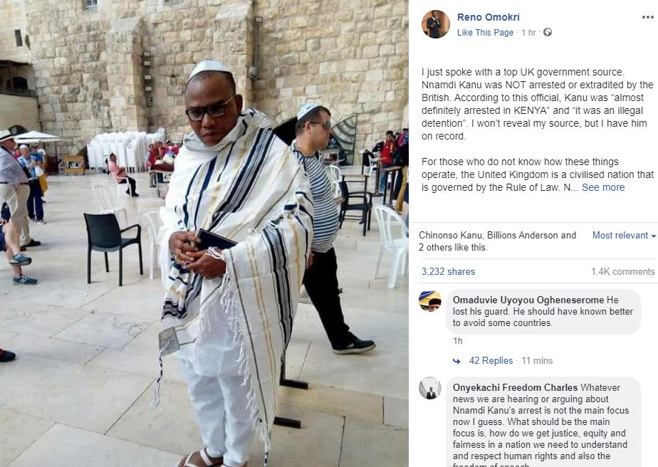 Nnamdi Kanu Arrest in UK is fake news.