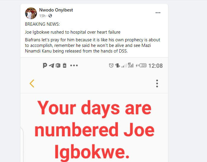 Joe Igbokwe rushed to hospital over heart failure